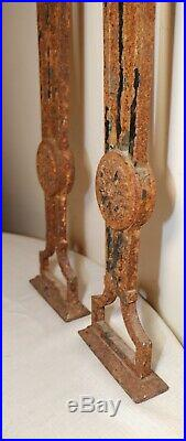 LARGE pair of antique ornate solid cast iron architectural salvage pillars posts