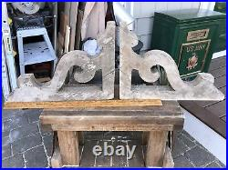 Large 19 Pair ANTIQUE WOODEN CORBEL VICTORIAN SHABBY DISTRESSED PAINT