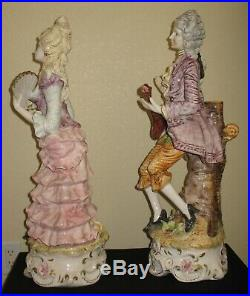 Large 27 Palace Size Pair Antique Capodimonte Man & Woman Figurines Italy
