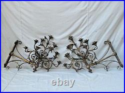 Large Antique 10 Arm Bronze Wall Candle Sconces French Fine Quality