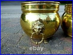 Large Antique Brass Pair Planters Lion Heads Claw Feet Copper