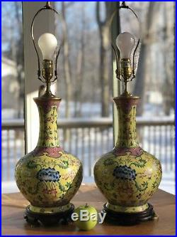 Large Antique Chinese Pair Yellow Ground Famille Rose Porcelain Vase Lamps