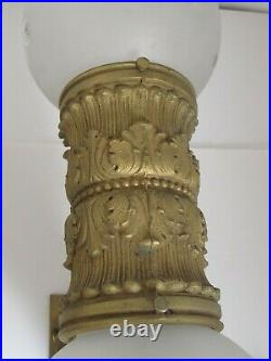 Large Antique Dore Bronze Wall Sconces with 2 Globes each Finest Quality