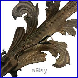 Large Antique French Architectural Cast Iron Wall Sconces A Pair