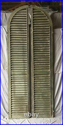 Large Antique Pair Gothic Arched Dome Top Wood Shutters Tall 101x19 634-18E