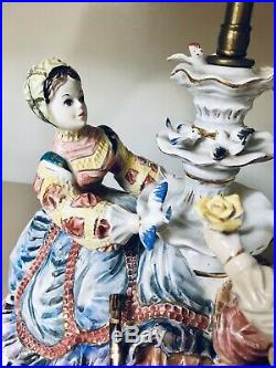 Large Capodimonte Victorian Porcelain Table Lamp Courting Couple No Shade