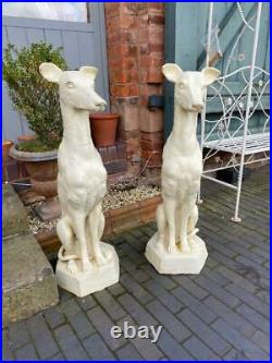 Large Cast Iron Dog Sculptures Matching Pair White Painted Finish 90 cm tall