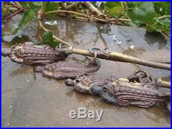 Large Chateau 4 (2 pairs) Antique French Cast Ormolu tie backs 330mm height