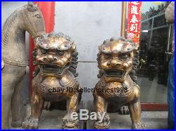 Large Chinese Bronze FengShui BeiJing Palace Guardian Foo Dog Lion statue Pair