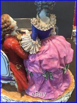 Large Dresden Muller Volkstedt Porcelain Lace Figurine Courting Couple 1907-1949