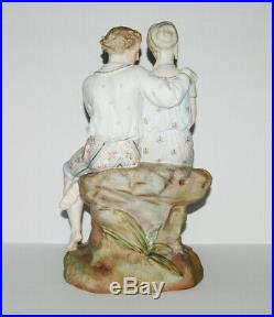 Large French Beautifull Antique Bisque Couple Lovers Figurine 13.5 Tall