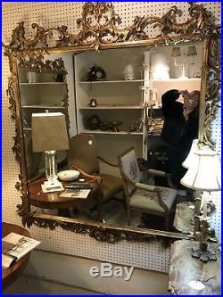 Large Handsome Ornate Italian Rococo Gilt Wood Carved Hanging Mirrors (Pair)