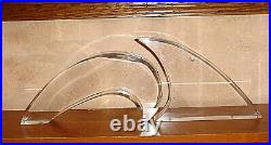 Large MCM Abstract Ocean Wave Shark Fin Lucite Sculpture Bookend Pair Astrolite