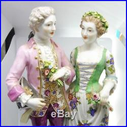 Large Meissen Courting Couple Figurine Sold As Is W Very Minor Damage