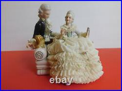 Large Muller Volkstedt Irish Dresden Figurine Porcelain Lace Couple & Puppy Dog