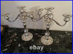 Large Pair 14 Reed & Barton Francis I Sterling Silver 3 Armed X5691 Candelabra