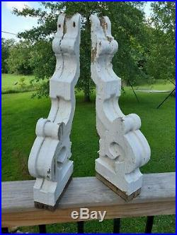 Large Pair 24 Antique Wood Corbels 1890's Architectual Salvaged Victorian