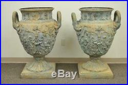 Large Pair 40 Figural Cast Bronze French Neoclassical Style Garden Urn Planters