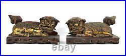 Large Pair Antique Chinese Fu Foo Lions Temple Dogs Carved Gilt Wood