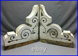 Large Pair Antique Corbels Roof Brackets Victorian Shabby White VTG Chic 766-21B