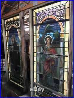 Large Pair Antique Stained Glass Window St Anthony St Lucy Beautiful 9 Feet