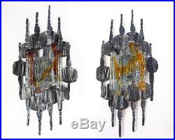 Large Pair BRUTALIST Wall Sconces by Tom Ahlstrom & Hans Ehrlich, Sweden 1960s