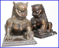 Large Pair Chinese Gold Gilt Lacquer Wood Dogs of Fo Temple Lions