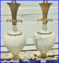 Large Pair Elegant Antique/Vtg Alabaster Marble Brass Table Lamps with Shades 5699