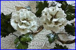 Large Pair ITALIAN Tole Porcelain White Rose Flower Candle WALL SCONCES with IVY