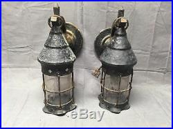 Large Pair Iron Copper Arts Crafts Mission Sconce Lights Cylinder Glass 213-17E