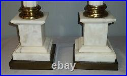 Large Pair Of Alabaster Neoclassic Style Carved Column Table Lamps, Superb