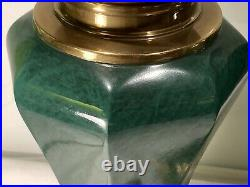 Large Pair Of Handsome Vintage Quality Enameled Brass Table Lamps