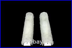 Large Pair Of Mid Century Vintage Ice Glass Sconces Wall Lights Honsel 1960s