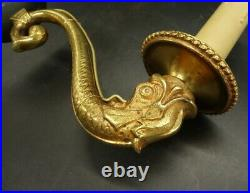 Large Pair Of Sconces, Dolphins & Arrows, Empire Style Bronze French Antique