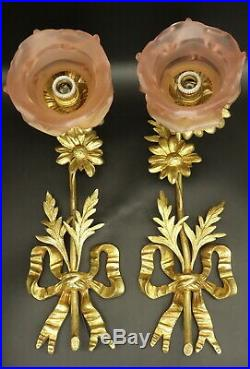 Large Pair Of Sconces, Louis XVI Style, Early 1900 Bronze French Antique