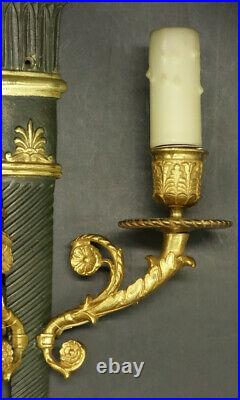 Large Pair Of Sconces Restauration Style Era 19th Bronze French Antique