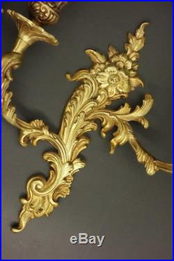 Large Pair Of Sconces, Rococo Style Petitot France Bronze French Antique