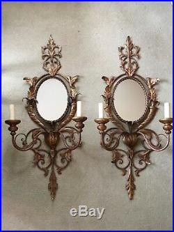 Large Pair Of Vintage Gilt Toleware Mirrored Wall Sconces, Lights 92x40 Cm