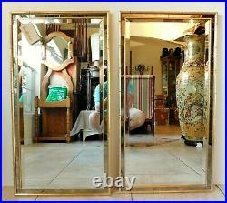 Large Pair Vintage 38 LaBarge Faux Bamboo Gold Gilt Wood Beveled Wall Mirrors
