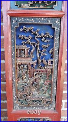 Large Pair of Antique Chinese Door Panels with Hand Carved Figures