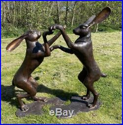 Large Pair of Bronze'Boxing Spring Hares' 90cm High Garden Statue Ornaments