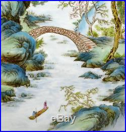 Large Pair of Chinese Painting Landscape Porcelain Wall Hanging Plaque Marked