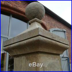 Large Pair of Gate Posts / Pillars Carved from Solid Stone Height 256cm