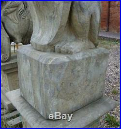 Large Pair of Heraldic Seated Dogs on Bases Hand Carved Solid Stone H203cm
