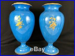 Large Pair of Sevres Style Porcelain Urns, 19th Century, French, Blue