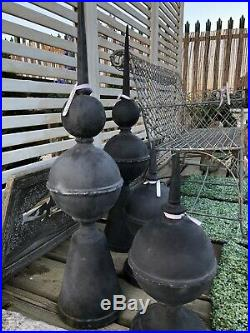 Large Pair of cast Iron ball & Spike Finial Cap Gate Post Decorative ornament
