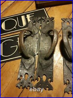 Large Pair of wrought iron vintage old Door Handle Pulls 15 inch