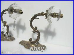 Large Vintage Brass Wall Lights Lamps Old Antique Sconces Rococo Glass Cups