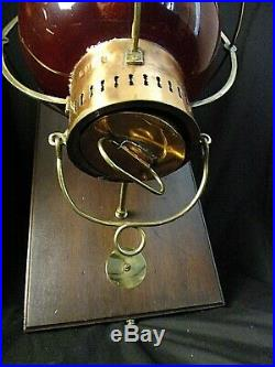Large Vintage Nautical Onion Wall Sconces Port Side Cranberry Red Glass 28 70's
