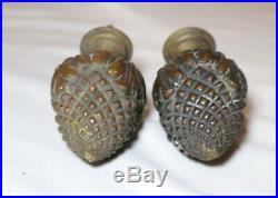 Large pair of antique ornate bronze brass architectural salvage banister finial